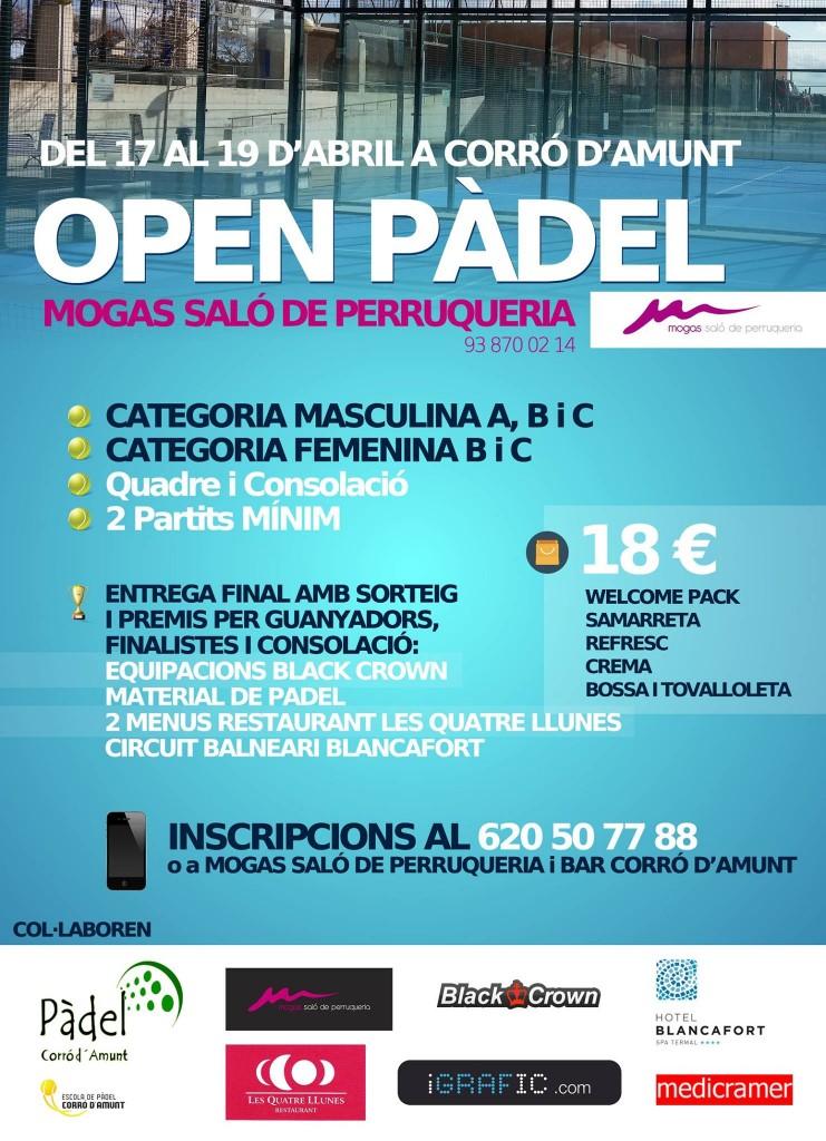 CARTELL TORNEIG OPEN PADEL MOGAS SALÓ DE PERRUQUERIA